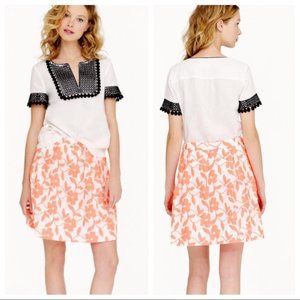 J CREW FACTORY neon coral embroidered floral skirt